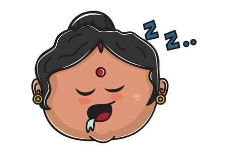 Vector cartoon illustration. Indian aunty is sleeping. Isolated on white background.