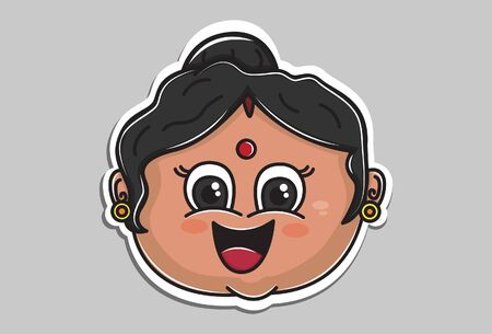 Vector cartoon illustration of Indian aunty face is happy. Isolated on grey background. 일러스트