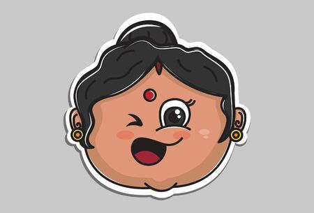 Vector cartoon illustration. Indian aunty is making eyes. Isolated on grey background.