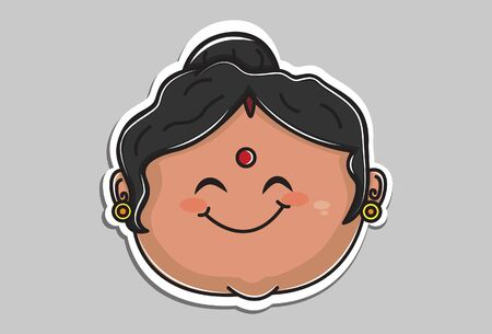 Vector cartoon illustration of indian aunty smiley face. Isolated on grey background.