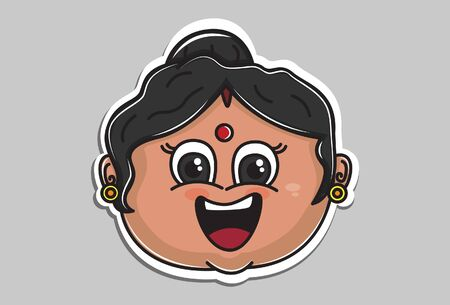 Vector cartoon illustration of Indian aunty happy face. Isolated on grey background. 일러스트