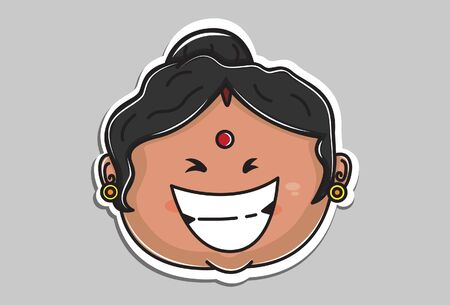 Vector cartoon illustration of Indian aunty face is laughing. Isolated on grey background.