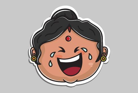 Vector cartoon illustration of Indian aunty is crying. Isolated on grey background.