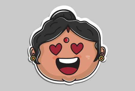 Vector cartoon illustration of Indian aunty face in love. Isolated on grey background. 일러스트