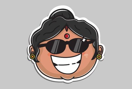 Vector cartoon illustration of Indian aunty wearing glasses. Isolated on grey background.