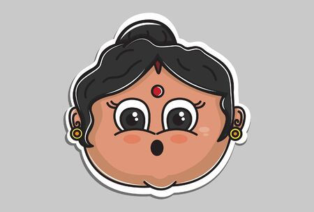 Vector cartoon illustration of Indian aunty astonished face. Isolated on grey background. Иллюстрация