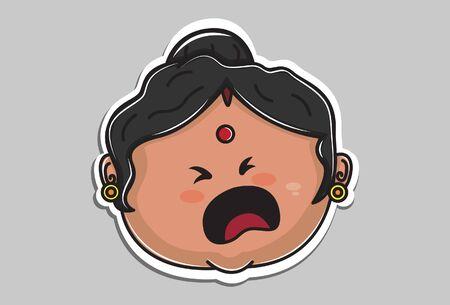 Vector cartoon illustration of Indian aunty sad face. Isolated on grey background. Ilustração