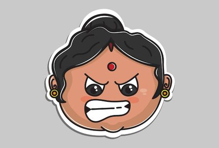 Vector cartoon illustration of Indian aunty angry face. Isolated on grey background.