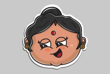 Vector cartoon illustration of Indian aunty face. Isolated on grey background.