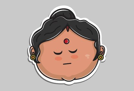 Vector cartoon illustration of Indian aunty face with closed eyes. Isolated on grey background.