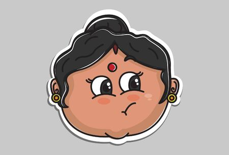 Vector cartoon illustration of Indian aunty naughty face. Isolated on grey background.