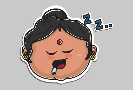 Vector cartoon illustration. Indian aunty is sleeping. Isolated on grey background.