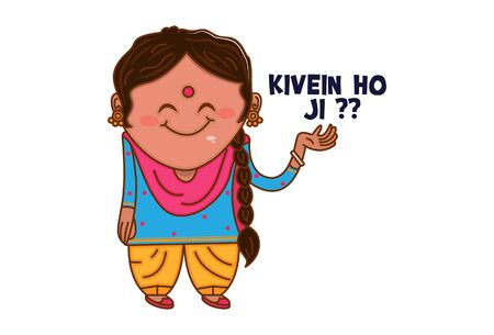 Vector cartoon illustration of Punjabi woman saying kivein ho ji?? Punjabi text translation - How are you? Isolated on white background.
