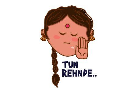 Vector cartoon illustration of punjabi woman face and hand. Tun rehnde Punjabi text translation - stop. Isolated on white background. 版權商用圖片 - 132023469