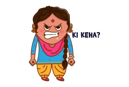 Vector cartoon illustration of Punjabi angry woman. Ki keha Punjabi text translation - What are you saying? Isolated on white background.