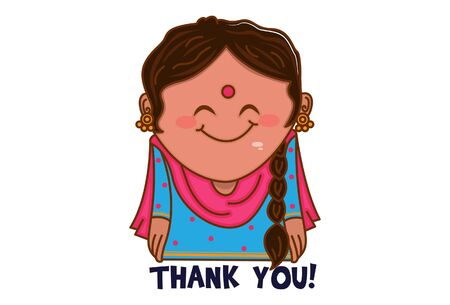 Vector cartoon illustration. Punjabi woman saying thank you. Isolated on white background.