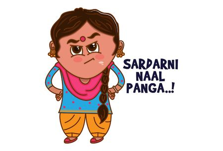 Vector cartoon illustration of Punjabi angry woman. Sardarni naal panga Punjabi text translation - Sardarni saying dont mess me. Isolated on white background.