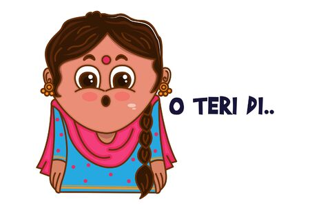 Vector cartoon illustration of Punjabi woman shocking face. O teri di Punjabi text translation - oh no. Isolated on white background.