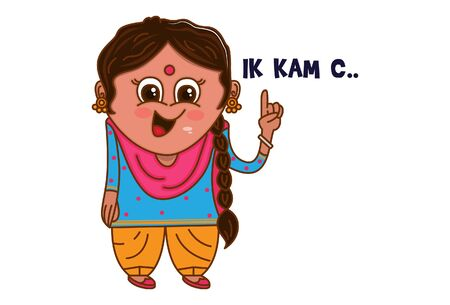 Vector cartoon illustration of Punjabi woman showing one finger. Ik kam c Punjabi text translation - one work. Isolated on white background.