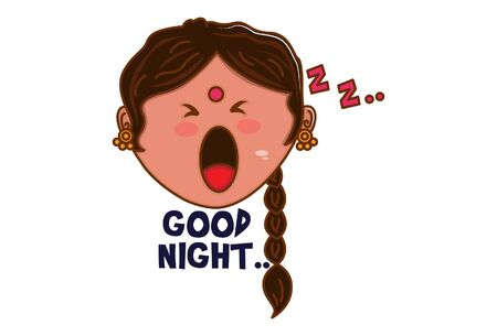 Vector cartoon illustration. Punjabi woman is sleeping and saying good night. Isolated on white background.