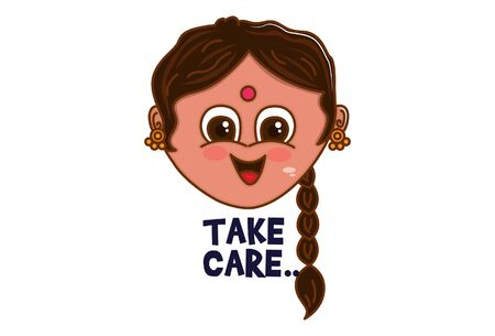 Vector cartoon illustration. Punjabi woman saying take care. Isolated on white background.