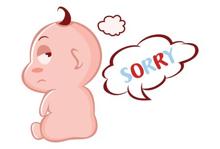 Vector cartoon illustration of disappointed cute baby. Lettering text sorry. Isolated on white background.
