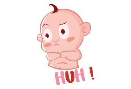 Vector cartoon illustration of cute baby angry expression. Lettering text huh. Isolated on white background.