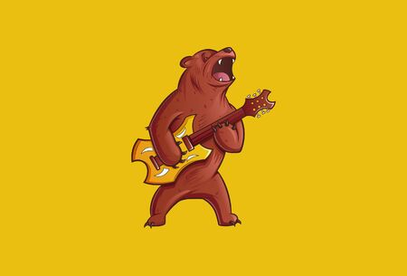 Vector illustration of an angry bear playing guitar. Isolated on a yellow background.