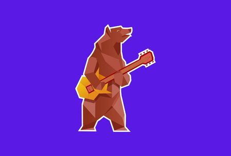 Vector illustration of a funny bear playing guitar. Isolated on a blue background. Illusztráció