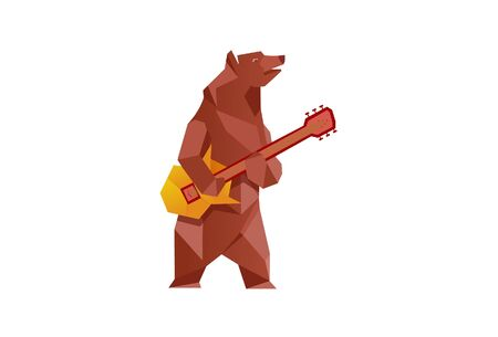 Vector illustration of a funny bear playing guitar. Isolated on a white background.