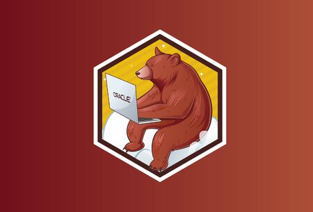 Vector illustration of sitting bear holding laptop. Isolated on a brown background. Illusztráció