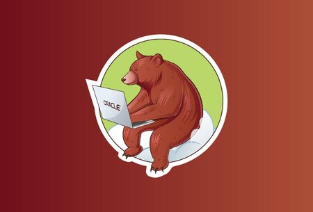 Vector illustration of bear working on the laptop. Isolated on a brown background. Illusztráció