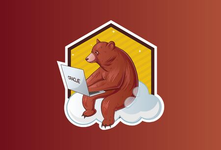 Vector illustration of sitting bear working on a laptop. Isolated on a brown background.