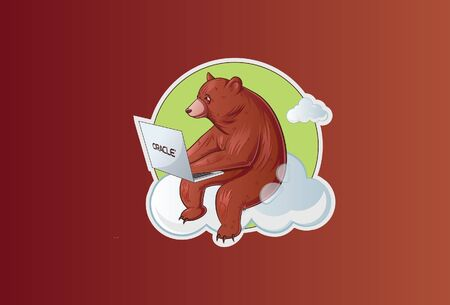 Vector illustration of sitting bear holding laptop and working. Isolated on a brown background.
