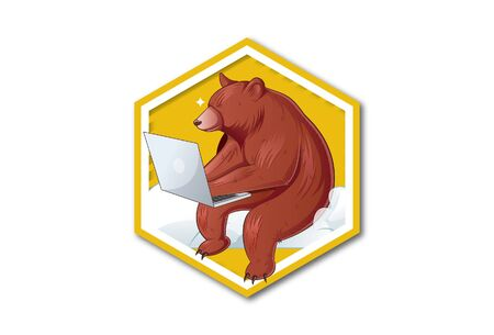Vector illustration of sitting bear holding laptop and working. Isolated on a white background. Illusztráció