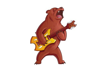 Vector illustration of an angry bear playing guitar. Isolated on a white background.