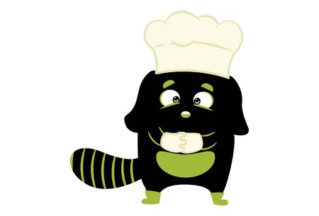 Vector cartoon illustration of cute monster wearing chef cap and gloves . Isolated on white background.