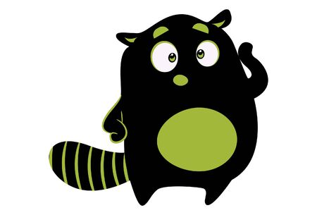 Vector cartoon illustration of cute monster standing and confuse. Isolated on white background. Standard-Bild - 134854174