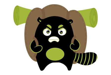 Vector cartoon illustration of cute aggressive monster holding travel bag on shoulders. Isolated on white background. Standard-Bild - 134854210