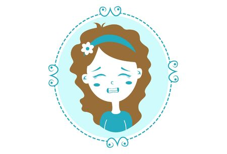 Vector cartoon illustration. Girl in the mirror crying. Isolated on white background.