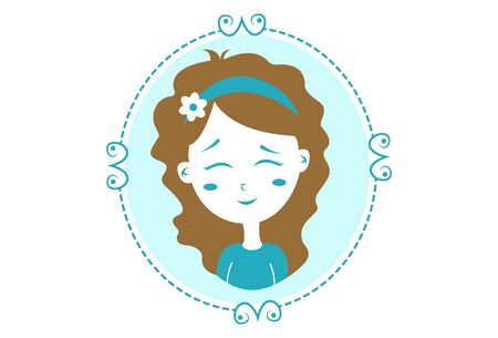 Vector cartoon illustration. Girl in the mirror with shy expression. Isolated on white background. Ilustração