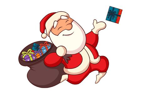 Vector cartoon illustration. Happy Santa Claus is holding a gift bag and throwing gifts. Isolated on white background.