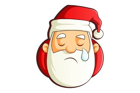 Vector cartoon illustration of Santa Claus with a tear. Isolated on white background.