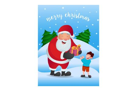 Vector cartoon illustration of Santa Claus giving the gift to boy. Lettering text Merry Christmas. Isolated on a white background.
