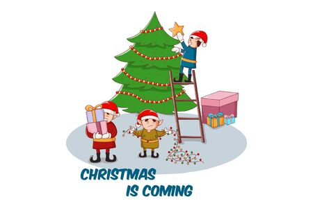 Vector cartoon illustration of boys decorating the Christmas tree and holding gifts in hands. Isolated on a white background. 일러스트