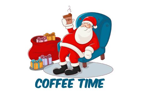 Vector cartoon illustration of Santa Claus sitting and drinking coffee. Lettering text coffee time. Isolated on white background. Illustration