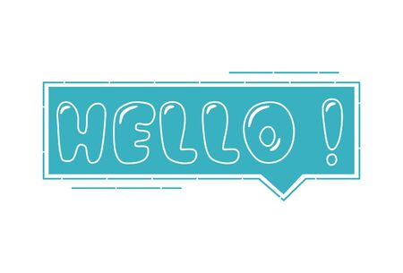 Vector cartoon illustration of hello text . Isolated on white background.