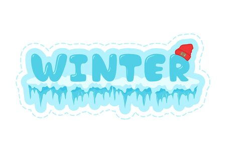 Vector cartoon illustration of winter text sticker. Isolated on white background.