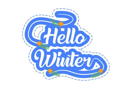 Vector cartoon illustration of hello winter text sticker. Isolated on white background.