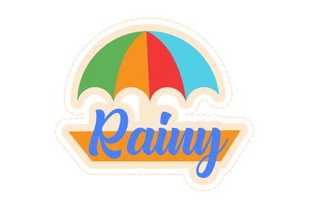 Vector cartoon illustration of umbrella and rainy text sticker. Isolated on white background. 일러스트